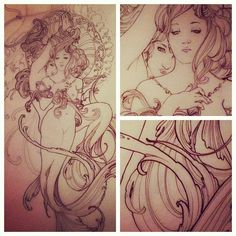 Art Nouveau Tattoo Mermaid.  #tattoos #tattoodesign #tattoo