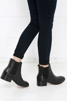 Steve Madden Jodpher Black Leather Chelsea Boots at Lulus.com!