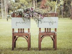 Decoration of the wedding chairs for the altar - weddes Civil Wedding, Our Wedding, Dream Wedding, Wedding Chair Signs, Wedding Chairs, Mr Mrs Sign, May Weddings, Cute Wedding Ideas, Rustic Wedding