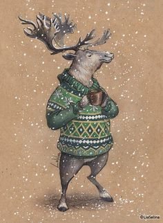 VERY RARE deer in sweater with mug by Lia Selina Russian modern postcard Hirsch Illustration, Deer Illustration, Christmas Illustration, Watercolor Illustration, Watercolor Art, Illustrations, Christmas Drawing, Christmas Art, Xmas
