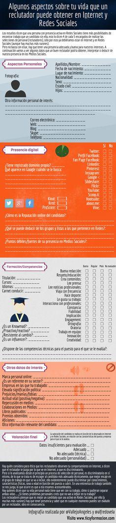 Datos de ti que un reclutador puede obtener en Internet y Redes Sociales. Infografía en español. #CommunityManager