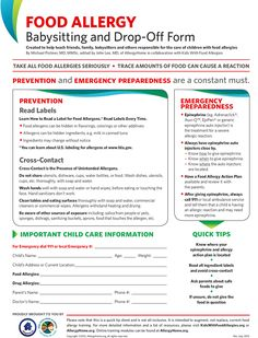 Free Food Allergy Babysitting and Drop-Off Form from our friends at Kids with Food Allergies Foundation!