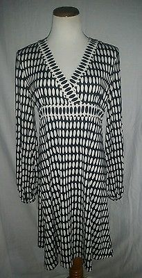 Inc International Concepts Long Sleeve Navy Blue White Dress L