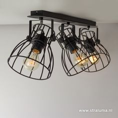 Industriële spot-plafondlamp draad zwart - www.straluma.nl