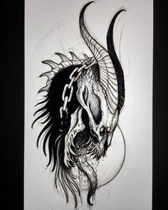 Dark Art Tattoo, Demon Tattoo, Gothic Tattoo, Tattoo Sketches, Tattoo Drawings, Body Art Tattoos, Art Sketches, Demon Drawings, Dark Art Drawings