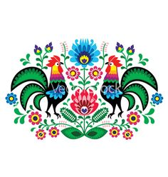 Polish floral embroidery with cocks pattern vector on VectorStock®