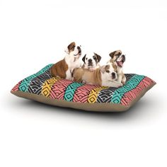 """Pom Graphic Design """"Artisian"""" Pink Teal Dog Bed 