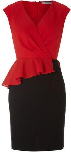 Andrew Marc Asymetric Peplum Hem Dress in Red | Lyst