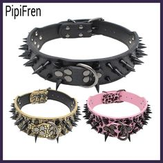 PipiFren Spiked Big Dogs Collars Accessories Rivet For A Large Dog Necklace Pitbull Pet Collar Supplies honden halsband cachorro