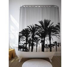 Black And White Palm Trees Shower Curtain, Tropical Bathroom, Tropical Decor,  Bath Decoration, Photo Curtain, Mediterranean Decor