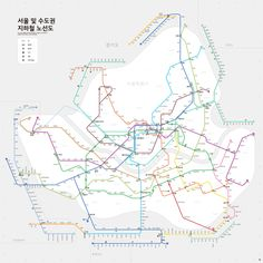 실제 지리적 위치 정보를 반영한 서울 지하철 노선도 디자인.  twitter.com/notefolio/status/571215615551107072