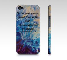 Be Strong - iPhone 4 4S 5 5S 5C 6 Hard Case Corinthians Floral Art Purple Royal Blue Bible Abstract, Faith Scripture God Biblical Verse by EbiEmporium on Etsy https://www.etsy.com/listing/176185069/be-strong-iphone-4-4s-5-5s-5c-6-hard