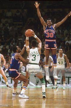 New York Knicks Bernard King (30) in action, defense vs Boston Celtics Dennis Johnson (3) at Boston Garden. Game 5.Boston, MA 4/29/1984CREDIT: Carl Skalak