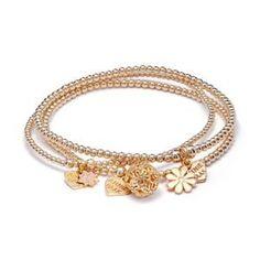 Little Posy Gold Bracelet Stack Rose Gold Charms, Silver Charms, Silver Charm Bracelet, Silver Bangles, Love Bracelets, Stackable Bracelets, Bridesmaid Bracelet, Bracelet Sizes, Jewelry Gifts