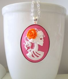 Neon Skeleton Necklace Bright Pink Cameo White by mysweetn0vember, $17.99
