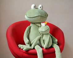 Handmade, stuffed Giant Frog. You can kiss him to win the Princes love. He is 20 inches (50 cm) seated and 48 inches (120 cm) overall. The color and pattern of his collar and necktie (which are cut off of a mens shirt and a real necktie) will be different from the picture! On the picture #4 you can see the dimensions - my Green Frog Prince sits on the lap of Moss Green Giant Frog. You can find my Green Frog Prince here: http://www.etsy.com/listing/157917938/green-frog...