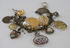 Vintage Charm Bracelet Religious Medals Found Charms Glass Beads by LoveYouMoreDesigns on Etsy