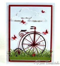card by Kittie Caracciolo using Memory Box Vintage Bicycle die