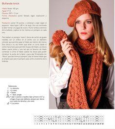 Bufanda a dos agujas. www.revistanube.com.ar