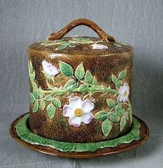 Wild Rose Stilton Cheese stand and Dome – by George Jones, Victorian Majolica Potter.