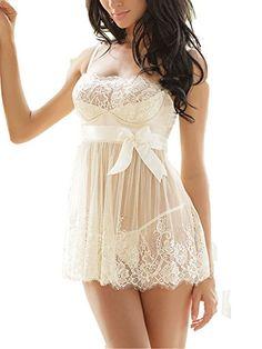 a3f305b427 Ruzishun Women's Sexy Lingerie White Lace Nightwear Perspective Sleepwear  Underwear (XL): Description:/b br High quality & Brand new with Guarantee.  br ...