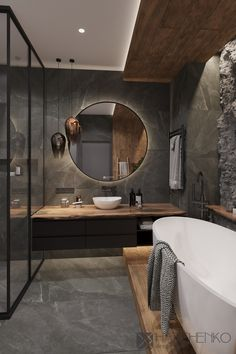 """This bathroom has dark-toned interior and it looks amazing"" Washroom Design, Bathroom Design Luxury, Bad Inspiration, Bathroom Inspiration, Appartement Design, Apartment Interior Design, Interior Livingroom, Cheap Home Decor, Home Remodeling"