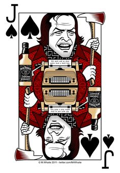 I've starteddesigninga series of movie themed playing cards - first up, the Jack of Spades and continuing my unhealthyobsession with The Shining, it's Jack Nicholson playing Jack Torrancejacked up on Jack Daniels.  That's a lot of Jacks.  Postcards, prints and posters of this design are available here - http://www.redbubble.com/products/configure/7298725-greeting-card  T-shirts are also available - http://www.redbubble.com/people/mrwhaite/t-shirts/7298760-jack-of-spades