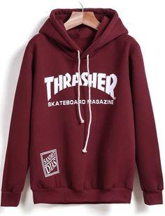 Red Hooded Long Sleeve THRA.SHER Print Sweatshirt 15.00