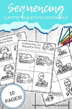 How To Produce Elementary School Much More Enjoyment Free Sequencing Worksheets That Are Perfect For Summer Young Learners Will Sequence And Retell Four-Part Summer Stories. Story Sequencing Worksheets, Sequencing Pictures, Sequencing Cards, Sequencing Activities, Speech Therapy Activities, Preschool Printables, Kindergarten Worksheets, Free Printables, Sequence Of Events Worksheets