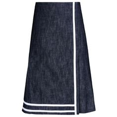 Victoria Beckham Denim Denim A-Line Wrap Skirt ($198) ❤ liked on Polyvore