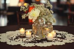 mason jar vases + loose coffee beans. Photo by Thruessence Photography.