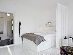 white and grey bed