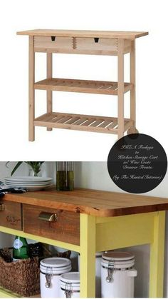 Make a FÖRHÖJA cart look like a custom piece for your kitchen. | 37 Cheap And Easy Ways To Make Your IKEA Stuff Look Expensive #DIY Easy DIY Ideas, Craft Ideas
