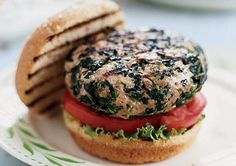 Turkey spinach burgers. The spinach keeps the turkey juicy and moist on the grill. No dry burgers here!