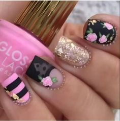 Hot nails, hair and nails, nail art flower designs, pretty nail designs Nail Art Designs, Pretty Nail Designs, Newest Nail Designs, Awesome Designs, Spring Nail Art, Spring Nails, Summer Nails, Hot Nails, Hair And Nails
