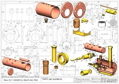 Mechanical Engineering Design, Mechanical Art, Engineering Projects, Steam Motor, Live Steam Models, Isometric Drawing, Steam Boiler, Steamboats, Wood Turning Projects