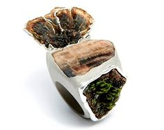 """Nature, au naturel: this """"in the forest"""" ring by London's ORNELLA IANNUZZI-FR-UK is composed of petrified wood, dry mushrooms, bark, moss and silver. I think Les Stroud is hiding in there somewhere, too."""