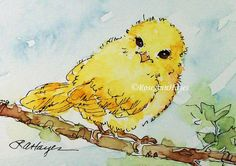 Baby Bird Canary Watercolor Painting Print by RoseAnnHayes on Etsy