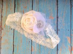 Ivory Rose Baby Headband Sherbet With by sherbetwithsprinkles