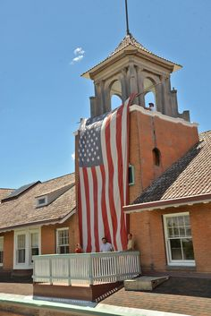 The American flag drapped from the Csataneda bell tower on 7/4/2019