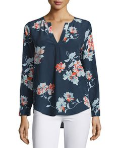 Joie Deon B Tossed Bouquet Silk Blouse, Dark Navy w/ Live Coral New offer @@@ Price :$258 Price Sale $179