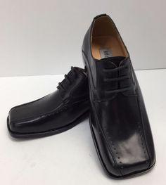 08bd42c860a5 Boys Youth Black Dress Shoes With Laces Hugo Vitelli Style K160BLK-B