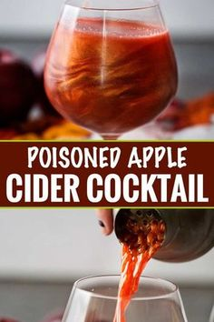 Perfect for Fall and Halloween, this sweet and eerily beautiful cocktail is made with just a handful of ingredients, and tastes every bit as great as it looks! Drinks Poisoned Apple Cider Cocktail - The Chunky Chef Apple Cider Cocktail, Cider Cocktails, Easy Cocktails, Cocktail Drinks, Cocktail Recipes, Sweet Cocktails, Viniq Drinks, Recipes Dinner, Pasta Recipes