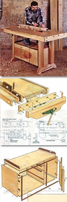 Workbench Plans - Workshop Solutions Projects, Tips and Tricks. Workbench Designs, Workbench Plans, Woodworking Workbench, Woodworking Workshop, Woodworking Shop, Woodworking Projects That Sell, Wood Tools, Wood Plans, Wood Working For Beginners