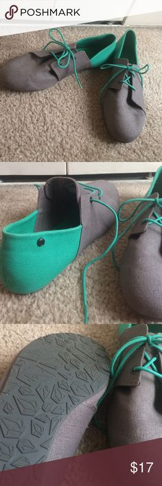 Volcom Grey and Green Sneaker Flats These Volcom grey and green sneaker flats are adorable with jeans or a skirt! They are a size 8.5 and were only worn once! I'm sad that they are too small for me! Volcom Shoes Flats & Loafers