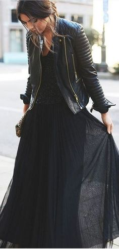#spring #summer #street #style #outfitideas | Black Biker + Black Top + Black Maxi Skirt