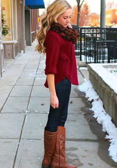 Love also would look cute with burgundy cardigan.  Burgundy top+Cheetah scarf+Riding boots
