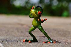 Ranas, Auriculares, Música, Danza, Pose, Gracioso, Rana