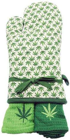 DEI 11422 Garden of Weedin Oven mitt and Towel, 3 Piece Set, Green Marijuana Recipes, Leaf Cookies, Cut Out Shapes, Linen Store, Towel Set, Leaf Design, Cannabis, 3 Piece, Gift Guide