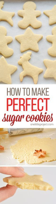 This recipe makes PERFECT sugar cookies! They're delicious both with and without icing, they keep their shape, have perfect edges every time and you don't need to chill the dough! (christmas sweets and treats) Best Sugar Cookie Recipe, Best Sugar Cookies, Holiday Cookies, Holiday Baking, Christmas Desserts, Sugar Cookie Recipe No Baking Powder, Christmas Recipes, Sugar Biscuits Recipe, Sugar Cookie Recipe No Chill